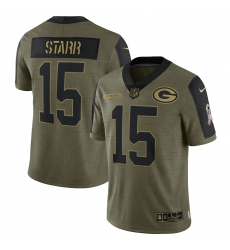 Men's Green Bay Packers #15 Bart Starr Nike Olive 2021 Salute To Service Retired Player Limited Jersey