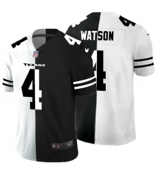 Men's Houston Texans #4 Deshaun Watson Black White Limited Split Fashion Football Jersey