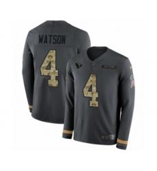 Men's Nike Houston Texans #4 Deshaun Watson Limited Black Salute to Service Therma Long Sleeve NFL Jersey