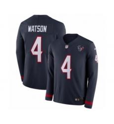 Men's Nike Houston Texans #4 Deshaun Watson Limited Navy Blue Therma Long Sleeve NFL Jersey
