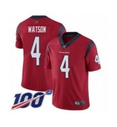 Men's Nike Houston Texans #4 Deshaun Watson Red Alternate Vapor Untouchable Limited Player 100th Season NFL Jersey