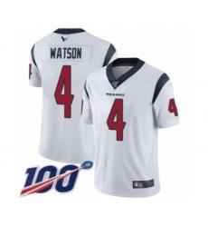 Men's Nike Houston Texans #4 Deshaun Watson White Vapor Untouchable Limited Player 100th Season NFL Jersey