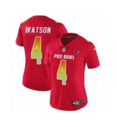 Women's Houston Texans #4 Deshaun Watson Limited Red AFC 2019 Pro Bowl Football Jersey