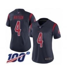 Women's Nike Houston Texans #4 Deshaun Watson Limited Navy Blue Rush Vapor Untouchable 100th Season NFL Jersey