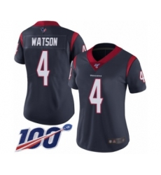 Women's Nike Houston Texans #4 Deshaun Watson Navy Blue Team Color Vapor Untouchable Limited Player 100th Season NFL Jersey