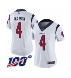 Women's Nike Houston Texans #4 Deshaun Watson White Vapor Untouchable Limited Player 100th Season NFL Jersey