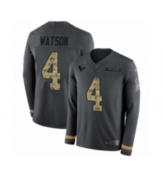 Youth Nike Houston Texans #4 Deshaun Watson Limited Black Salute to Service Therma Long Sleeve NFL Jersey