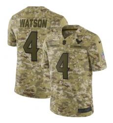 Youth Nike Houston Texans #4 Deshaun Watson Limited Camo 2018 Salute to Service NFL Jersey