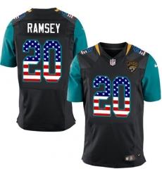 Men's Nike Jacksonville Jaguars #20 Jalen Ramsey Elite Black Alternate USA Flag Fashion NFL Jersey