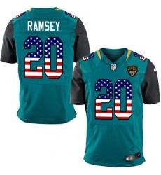 Men's Nike Jacksonville Jaguars #20 Jalen Ramsey Elite Teal Green Home USA Flag Fashion NFL Jersey