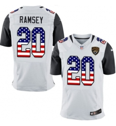 Men's Nike Jacksonville Jaguars #20 Jalen Ramsey Elite White Road USA Flag Fashion NFL Jersey