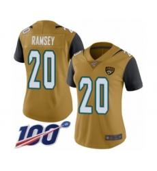 Women's Nike Jacksonville Jaguars #20 Jalen Ramsey Limited Gold Rush Vapor Untouchable 100th Season NFL Jersey