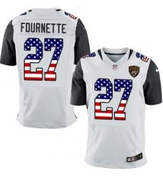 Men's Nike Jacksonville Jaguars #27 Leonard Fournette Elite White Road USA Flag Fashion NFL Jersey
