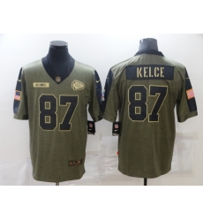 Men's Kansas City Chiefs #87 Travis Kelce Nike Olive 2021 Salute To Service Limited Player Jersey