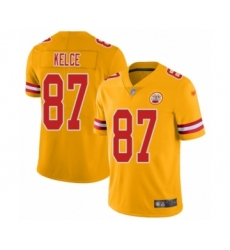 Youth Kansas City Chiefs #87 Travis Kelce Limited Gold Inverted Legend Football Jersey