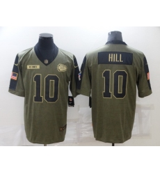 Men's Kansas City Chiefs #10 Tyreek Hill Nike Olive 2021 Salute To Service Limited Player Jersey
