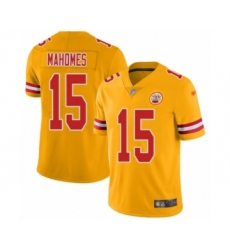 Youth Kansas City Chiefs #15 Patrick Mahomes II Limited Gold Inverted Legend Football Jersey