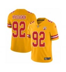 Men's Kansas City Chiefs #92 Tanoh Kpassagnon Limited Gold Inverted Legend Football Jersey