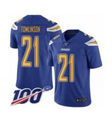 Men's Los Angeles Chargers #21 LaDainian Tomlinson Limited Electric Blue Rush Vapor Untouchable 100th Season Football Jersey